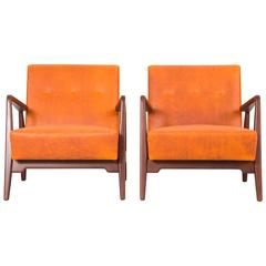 Set Of Mid Century Modern Jens Risom Lounge Chairs Newly Reupholstered