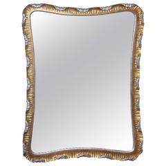 Venetian Scalloped Gilt Wood Silver Gold Italian Wall Mirror