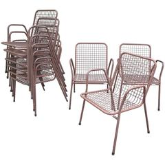Nine Wire Mesh Outdoor Chairs, Made in Denmark