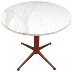 Marble Cafe Table on Mid-Century Base
