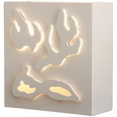 Wall or Table Light in Hand Cut Wood by Jacques Jarrige