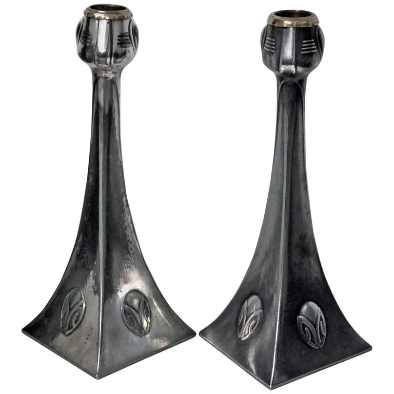 Pair of WMF Art Nouveau Pewter Candlesticks, Albin Muller, Germany, circa 1906 For Sale