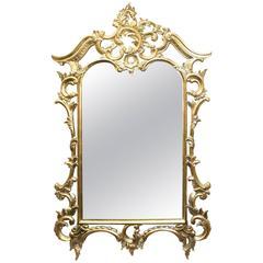 Large Handsome Carved Wood Gilt Gold Leaf Pier Glass Mirror