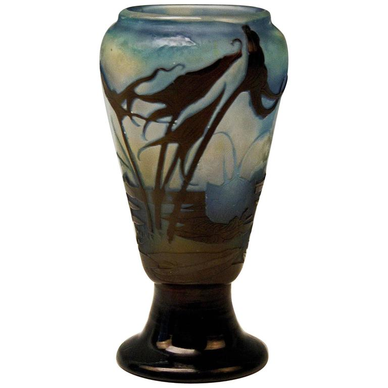 Emile Galle Vase Gallé Nancy Art Nouveau Lakeside View France Made, circa 1919