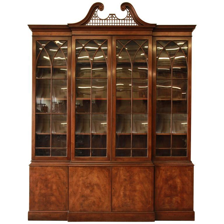 Baker Furniture English Style Mahogany Breakfront At 1stdibs