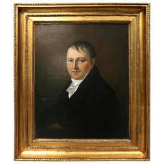 Early Antique Oil on Canvas Painting of a Baron in Gilt Frame, circa 1830