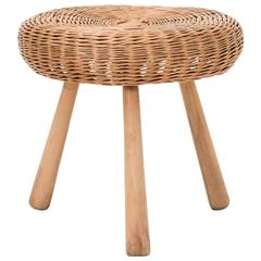Tony Paul Attributed Rattan Stool
