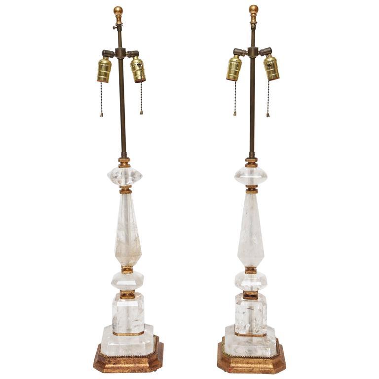 Vintage Pair of Rock Crystal Lamps
