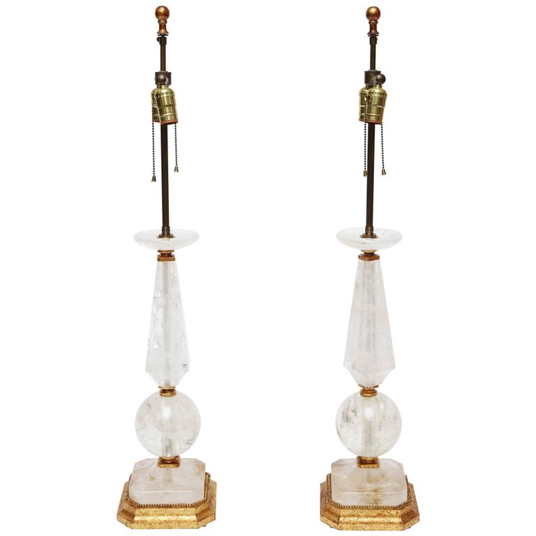 Rock Crystal and Giltwood Table Lamps For Sale