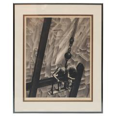 "Samuel L. Margolies Drypoint Etching, ""Men of Steel"""