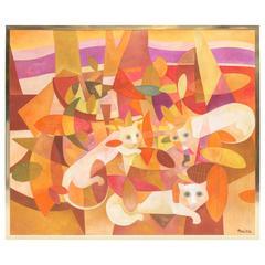 """Aurelio Pescina Painting """"Gato"""""""