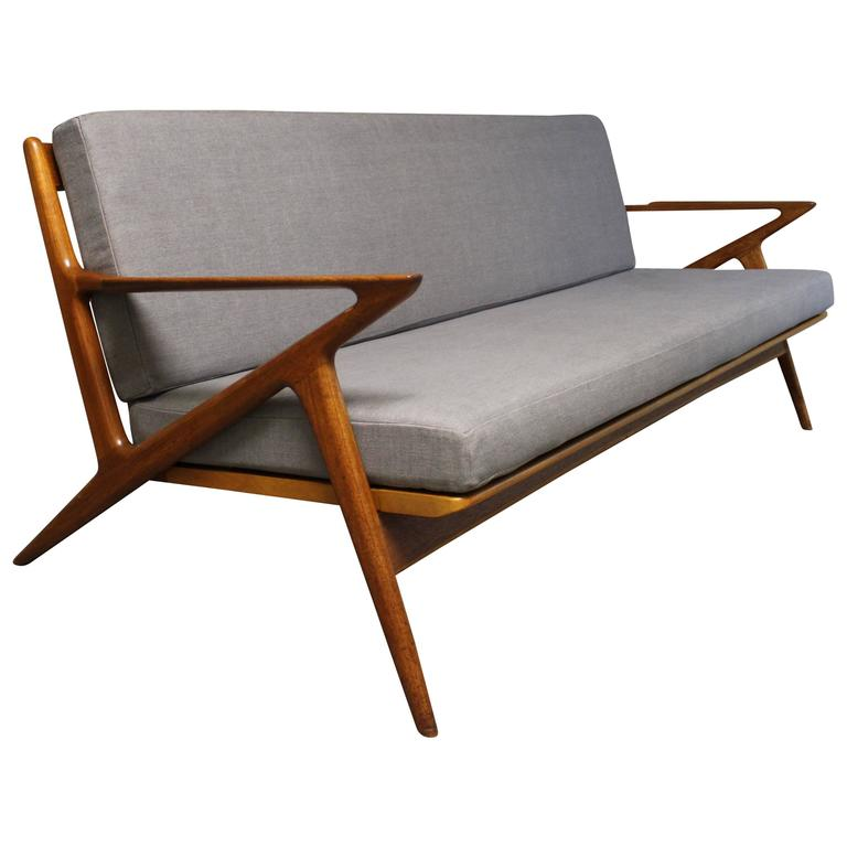 Poul Jensen Danish Teak Z Sofa by Selig For Sale