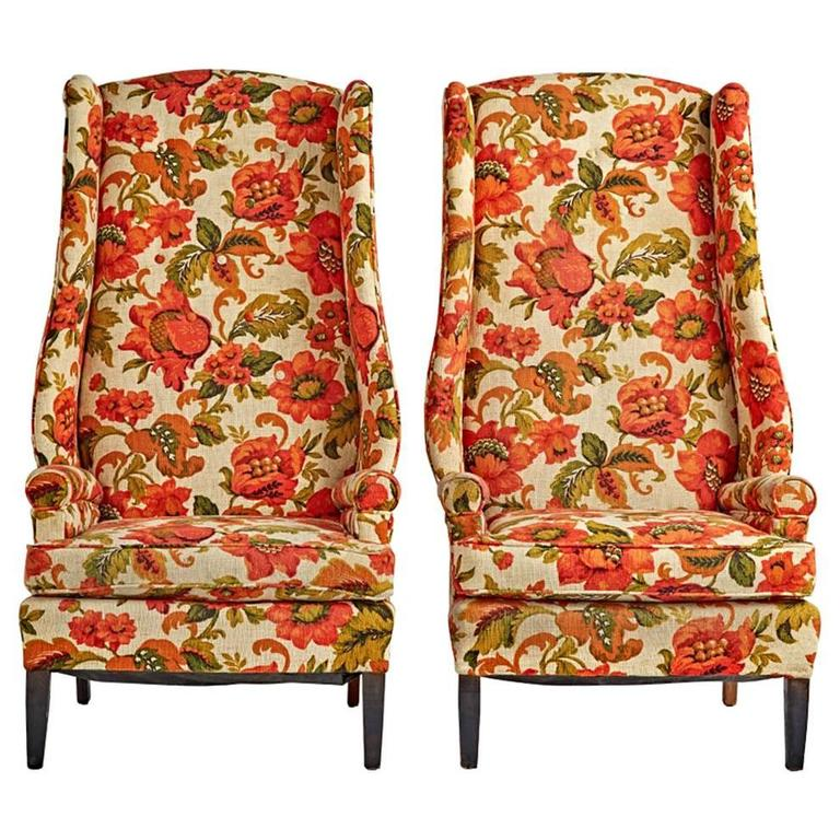 Pair of Fabulous Wingback Armchairs with Original Upholstery, circa 1950s