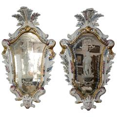 Pair of Antonibon Ceramic Hand Painted Mirrors with Etched Glass