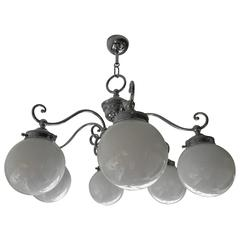 Mid-20th Century Swedish Art Deco Style Chrome and Glass Six Bulb Chandelier