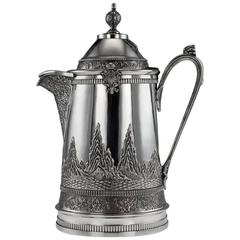 19th Century Chinese Solid Silver Large Ewer Jug, Da Xing, Canton, circa 1870