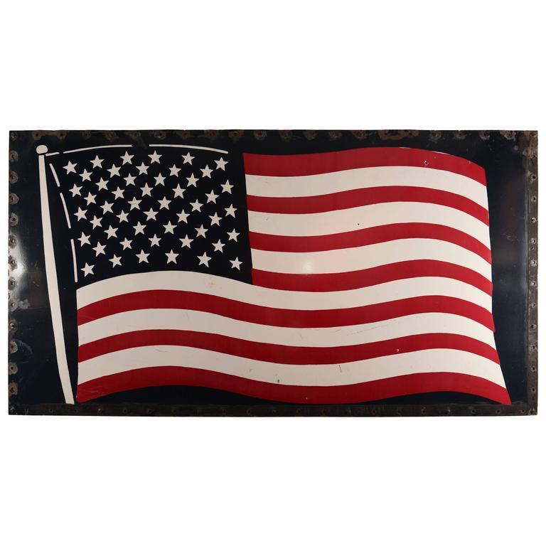 Huge Enamel American Flag For Sale