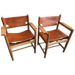 Børge Mogensen Leather Safari Chairs, Denmark, 1960s
