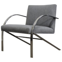Paul Tuttle Style Mid-Century Modern Chrome Arco Lounge Chair