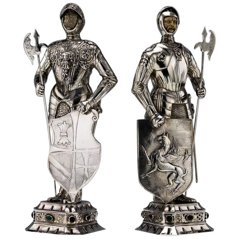 Antique 20th Century, German Solid Silver Pair of Massive Knight Figures