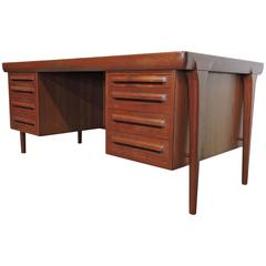 Kofod Larsen Danish Modern Large Teak Executive Desk