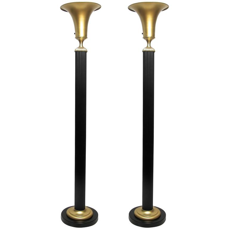 1930s Pair of Brass and Steel Torchiere Floor Lamps