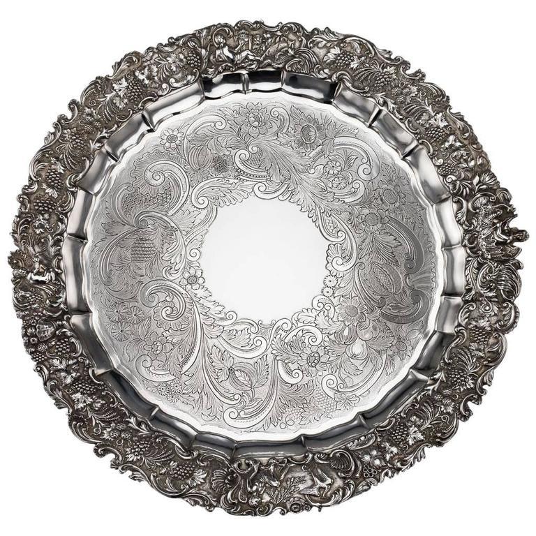 19th Century Regency Solid Silver Magnificent Salver Tray, J Hayne, circa 1827 For Sale