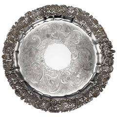 19th Century Regency Solid Silver Magnificent Salver Tray, J Hayne, circa 1827