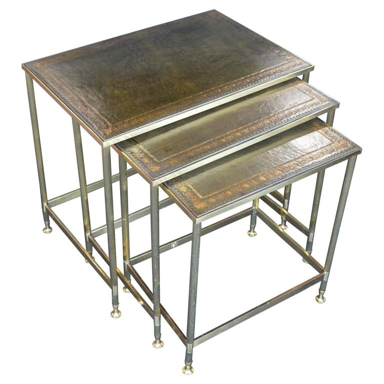 Leather Nesting Tables ~ Maison jansen nesting tables with leather tops for sale at