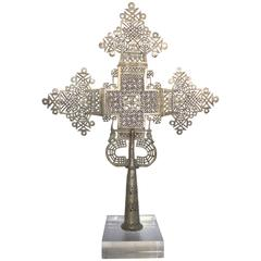 20th Century Ethiopian Coptic Cross on Lucite Base