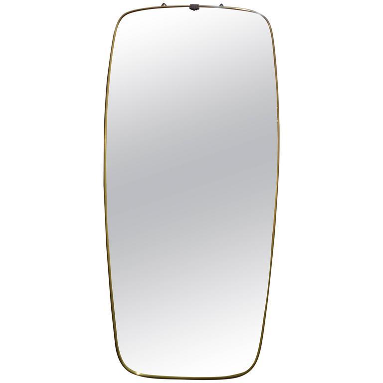 Vertical Mid-Century Italian Brass Shaped Mirror 1