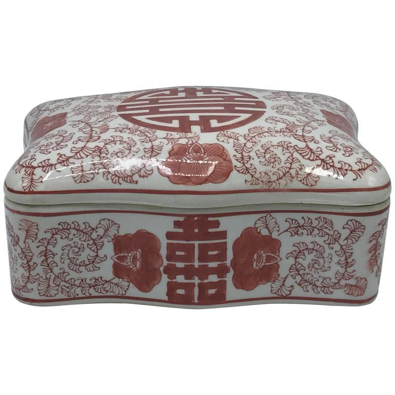 1970s Asian Red and White Ceramic Decorative Box