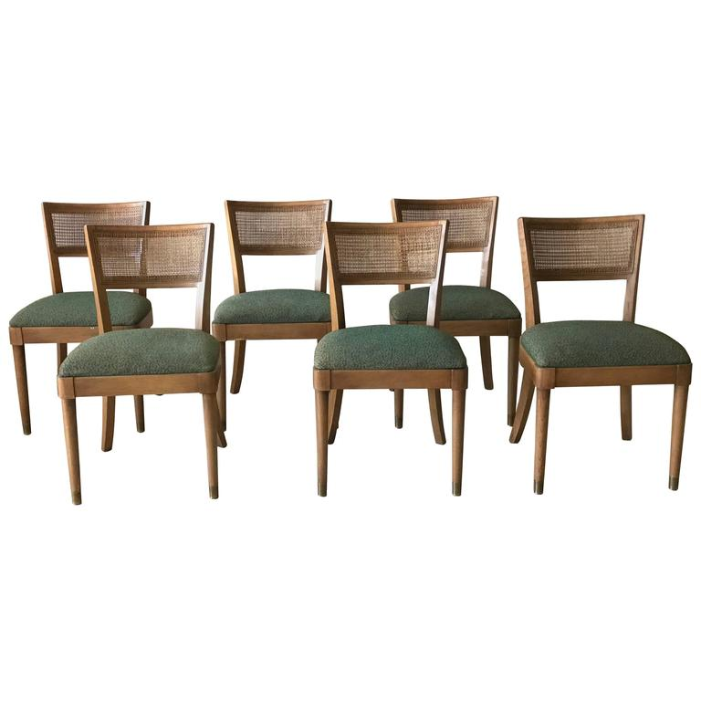 Superieur 1960s Drexel Walnut Dining Chairs With Cane Backing And Green Fabric, Set  Of Six For