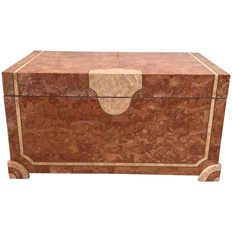 1980s Maitland Smith Tesselated Stone Trunk Coffee Table