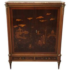 1940s Eugenio Diez Walnut and Mahogany Chinoiserie Dry Bar Cabinet