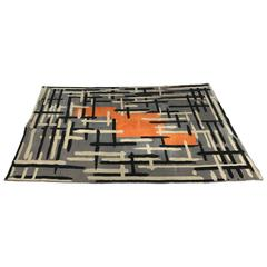 Rare French Modernist All Wool Rug, Abstract Field/Pattern by Jacques Borker