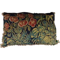 Tournai Gothic Silk and Wool Tapestry Floral Pillow of Rectangular Form