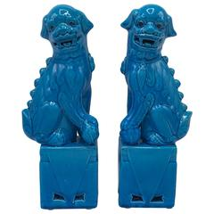 1970s Turquoise Glazed Foo Dogs, Pair
