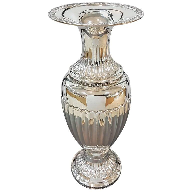 20th Century Empire Revival Italian Silver Vase For Sale