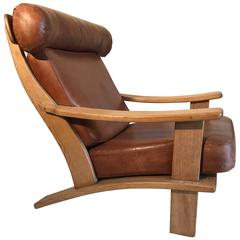 Oak and Leather Open Chair