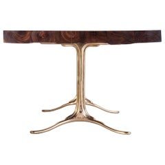 Bespoke Reclaimed Hardwood Table with Bronze Polished Base, by P. Tendercool