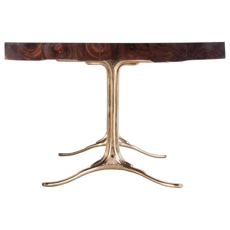 Bespoke Reclaimed Hardwood Table with Bronze Polished Base, by P. Tendercool 1