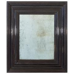 Large Black Ebony Lombardia Mirror, circa 1800, Italy