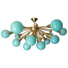 Half Sputnik Turquoise Blue Murano Glass Globes Chandelier