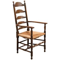 Antique Elbow Chair, Dining Ladder-Back, circa 1900