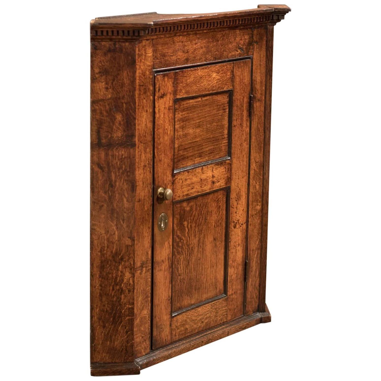Ann mirror insert double door single drawer wooden corner cabinet - 18th Century Georgian Oak Corner Cabinet Circa 1750