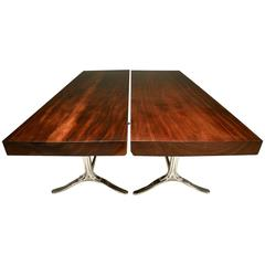 Pair of Tables, Antique Hardwood on Sand-Cast Aluminum Base, by P. Tendercool