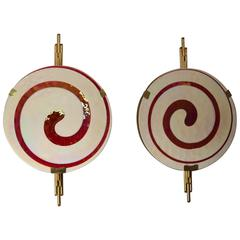 Large Pair of Pearly and Red Murano Sculpture Sconces in Brass Frame