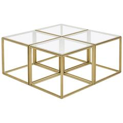 Cubist Set of Four Brass Low Tables and Transparent Glass Tops, by P. Tendercool