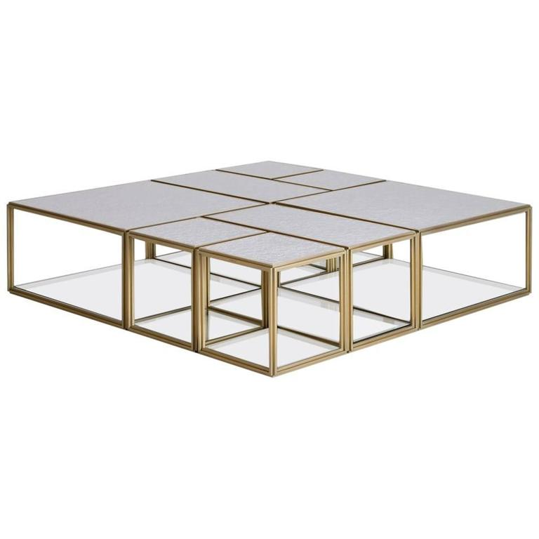 Collection of Modular Brass Low Tables with Sandcast Aluminum Textured White Top